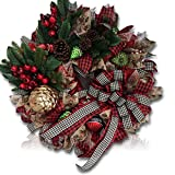 "Custom & Unique (24"" Inches) 1 Single Large Size Decorative Holiday Wreath for Door w/ Ribbons Bows Ornament Balls Checkered Winter Wonderland Santa's Festive Style (Red, White, Green, Gold & Tan)"