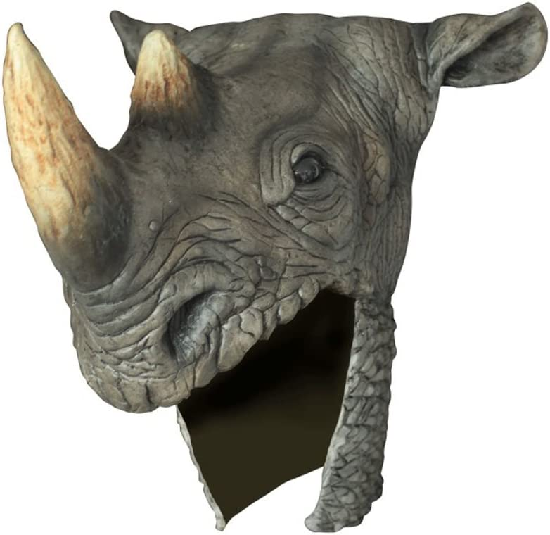 Amazon Com Rhino Head Helmet Adult Latex Grey Rhinoceros Hat Warrior Costume Accessory Toys Games