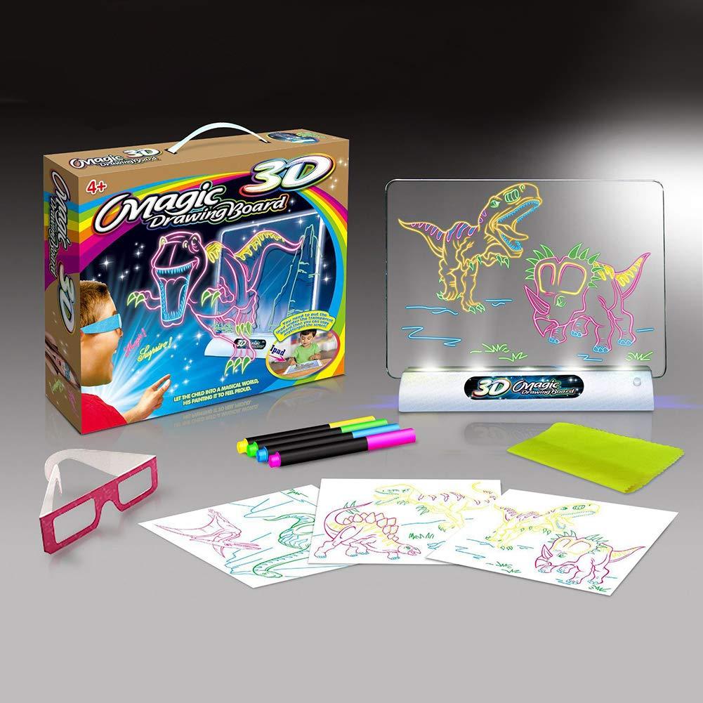 LAIZETONGXUN Tablero de Dibujo 3D m/ágico para ni/ños Juguetes Ni/ños Ni/ñas 5 a/ños o m/ás Kids Gift 3D para Dibujar Magic World Hacer Que la Foto salte del Papel Gafas 3D de Pluma