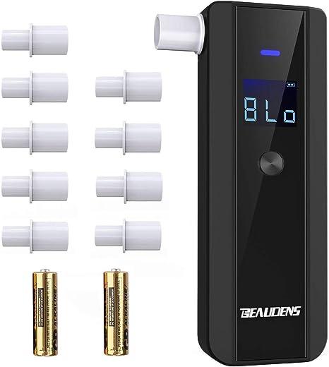 Testeur dalcool /à 4 Unit/és de Conversion Alcootest Num/érique Portable de Haute Pr/écision 2 Piles AA 10 Embouts BEAUDENS /Éthylotest /Électronique /Écran LCD
