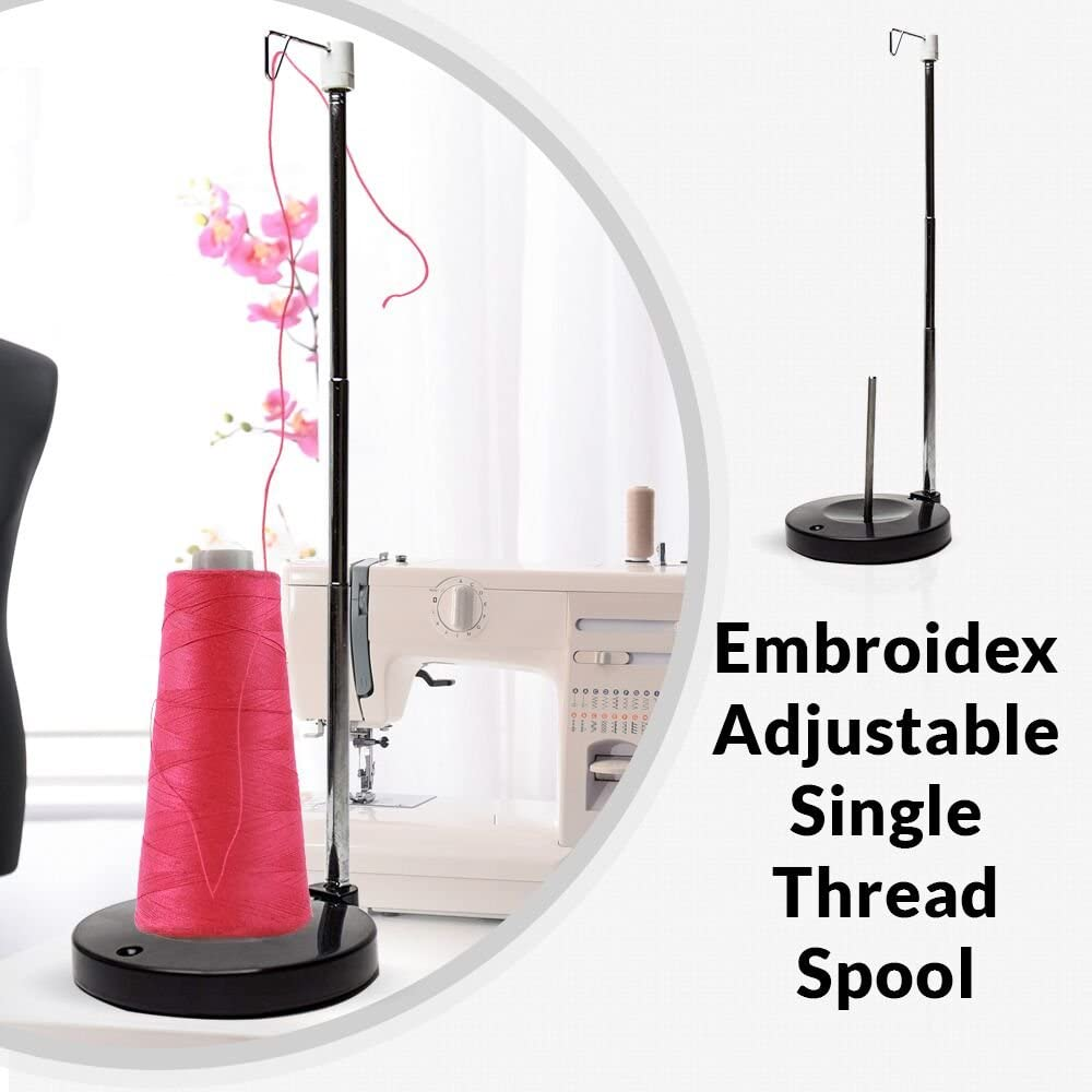 Embroidex Single Spool Heavy Duty Metal Base Single Thread Stand Great for Sewing and Embroidery Machine