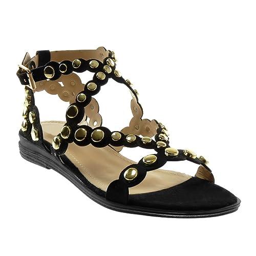 Angkorly - Chaussure Mode Sandale Spartiates lanière Cheville Femme clouté  doré Multi-Bride Talon Bloc b4e1329019e