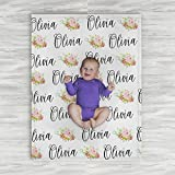 Personalized Baby Name Blanket - Floral - Frame - 30 X 40 - Plush Fleece Swaddle - Baby Girl Bedding - Cute Floral - Birth Announcement - Baby Shower Gift