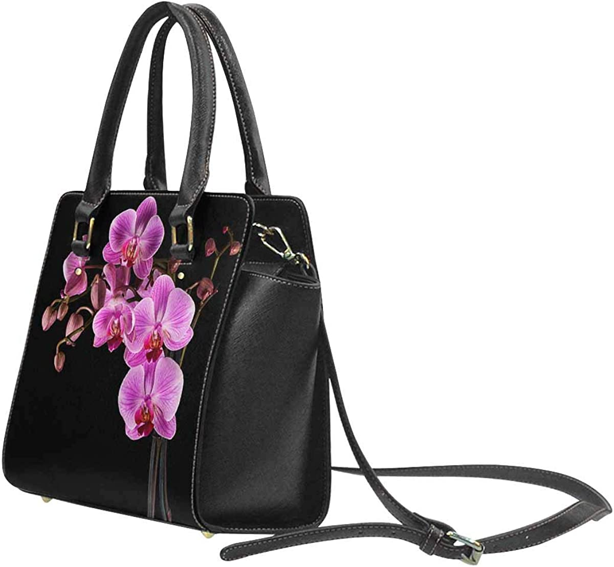 INTERESTPRINT Pink Cultivated Orchid Top Handle Satchel Purse for Woman Tote Shoulder Bag