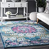 Traditional Vintage Floral Withered Bloom Turquoise Rug, 8 Feet by 10 Feet (8' x 10')