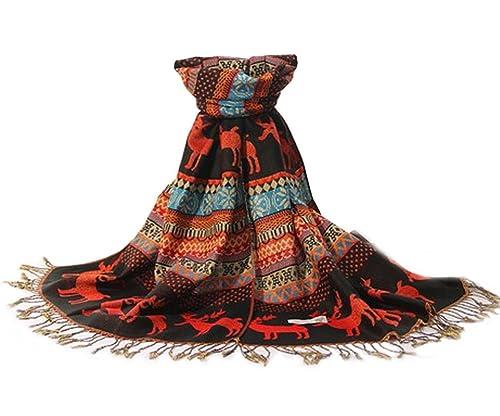 Aivtalk Mujer Bufanda de Crochet Jacquard Pañuelo Chal Mantón con Borlas 175*70cm Multicolor Estampa...