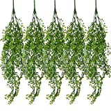 Dreampark Fake Hanging Plants, 5PCS Artificial Greenery Plastic Leaves Ivy Vine Wall Decor for Home Decoration Pack of 5