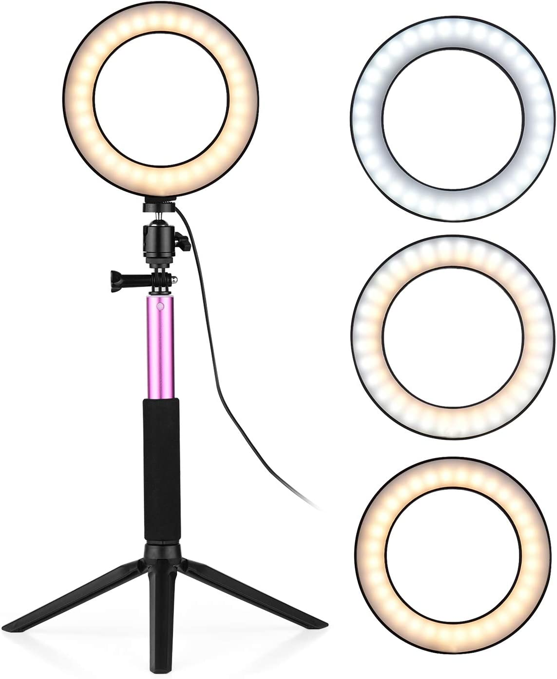 Andoer Ring Light with Stand, 6 Inch Selfie Lights Dimmable 3-Colors 360 Rotary USB Powered Streaming Light for Vlogging YouTube Video Shooting Make up (Pink)