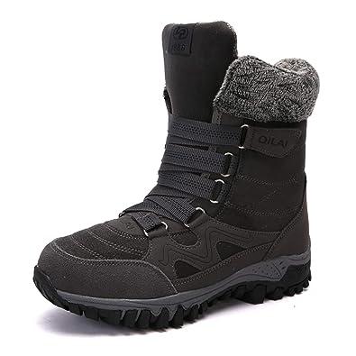 84c923a48dc Bottes Hiver Neige Imperméable Femme Chaussures de Randonnée Hiver Boots  Chaudes Fourrure Baskets Bottines(Gris