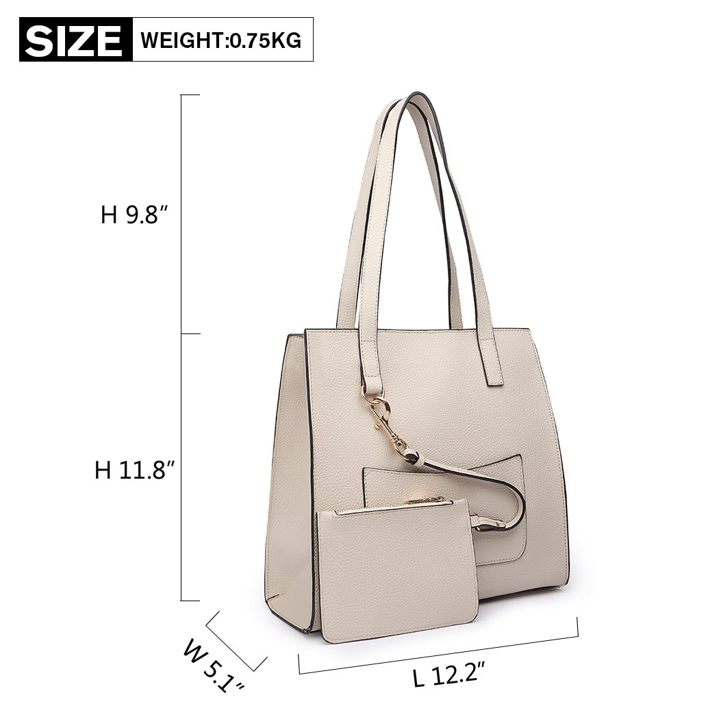 022697dbeafb Miss Lulu Brand Shoulder Bag with Small Purse Set Pu Leather Square Design  Fashion Zipper Handbags for Women (Beige)  Amazon.co.uk  Shoes   Bags