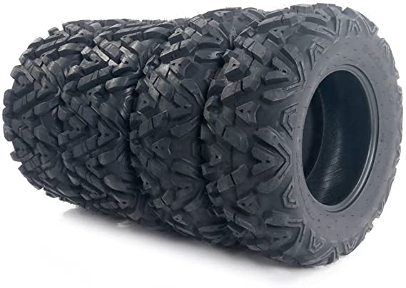 MOTOOS Complete Set of 4 All Terrain ATV UTV Tires 25x8-12 Front & 25x10-12 Rear 6PR Tubeless
