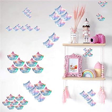 Easma Mermaid Scales Decals Watercolor Mermaid Wall Decals Girls Bedroom  Decals Nursery Wall Decor