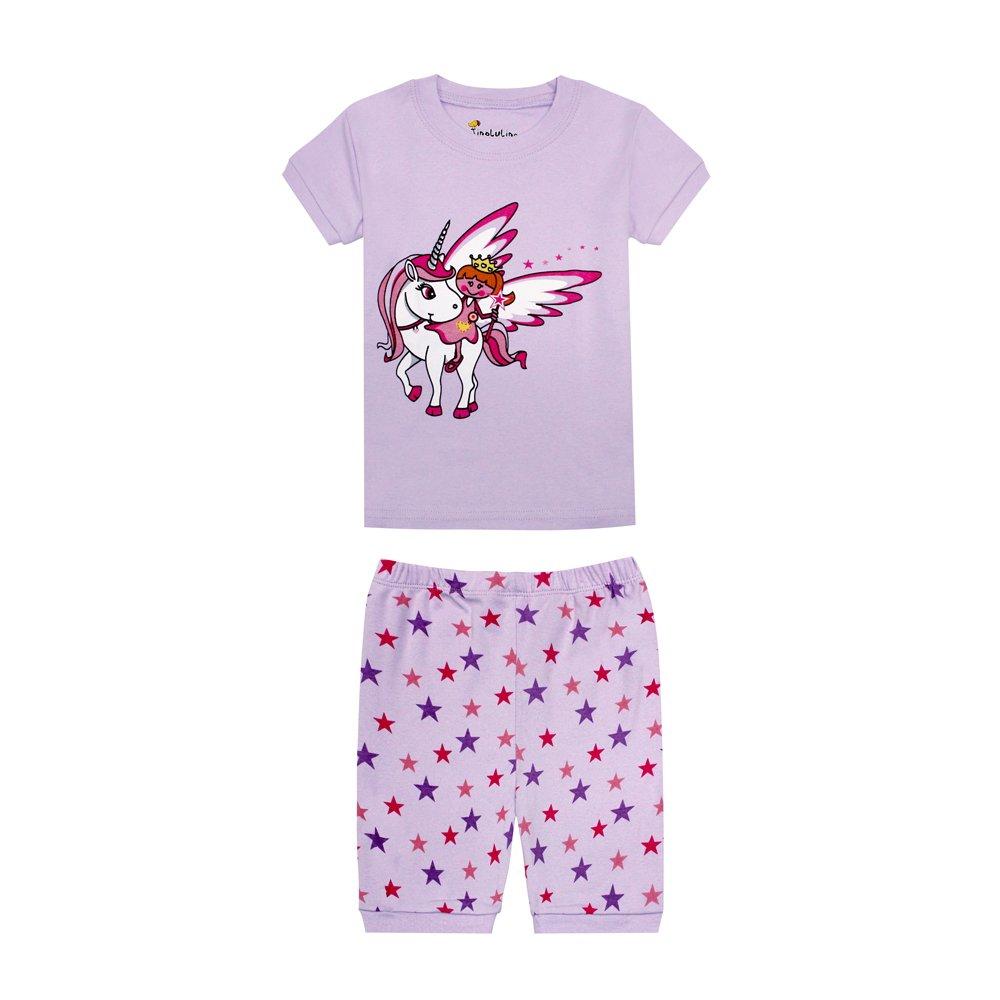 TinaLuLing Unicorn Girls Pajamas Kids 2pc Pijama Unicornio Infantil Baby Nightwear (CG20, 6-7 Years)