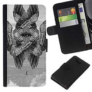KLONGSHOP // Tirón de la caja Cartera de cuero con ranuras para tarjetas - Alas del pájaro Significado Pintura Profundo - Samsung ALPHA G850 //