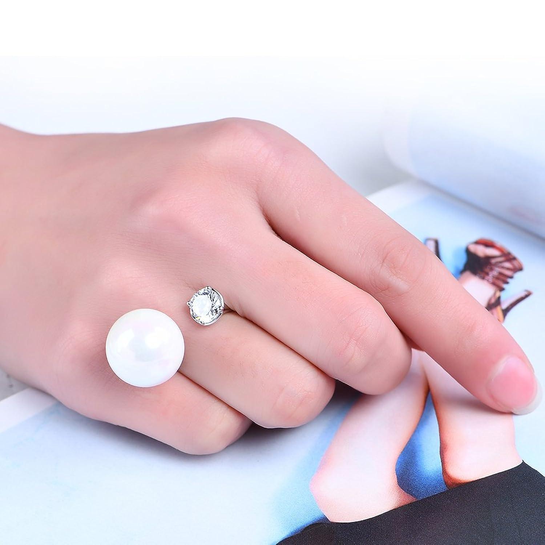 Amazon.com: LUREME Simple Copper Platinum Plated Big Pearl Open Ring ...