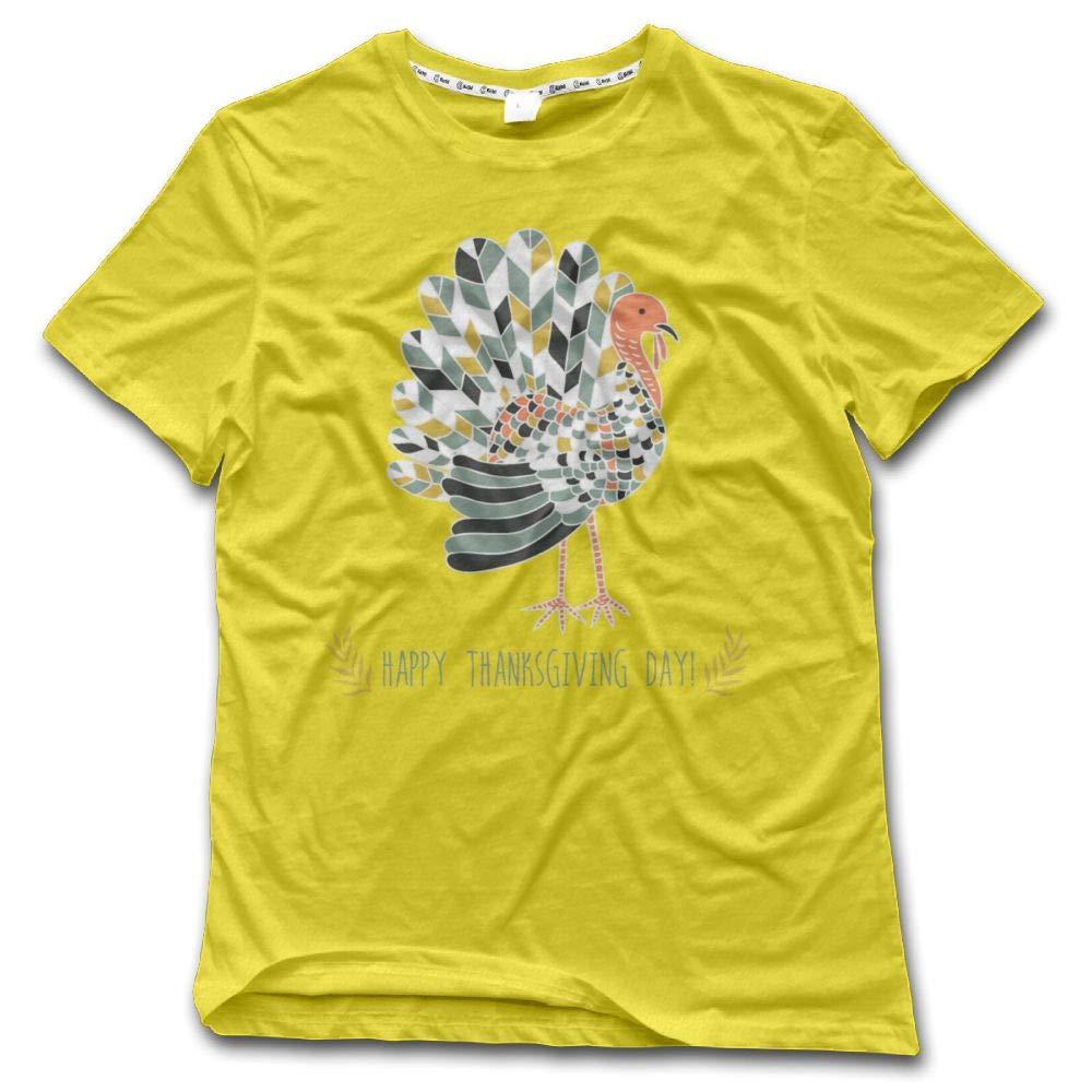 Poii Qon Happy Thanksgiving Day 1 Crew Neck Short Sleeves T Shirts Cotton Man