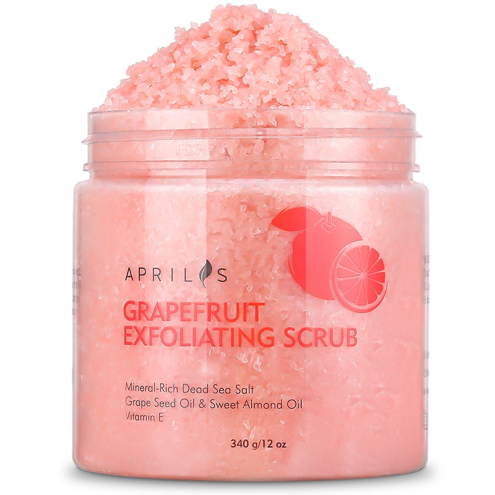 Grapefruit Body & Facial Scrub Exfoliator with Dead Sea Salt, Gently Exfoliates & Moisturizes Skin with Ultra Essential Oils & Vitamin E, Natural Pore Minimizer & Reduces Wrinkles, Acne Scars, 12 oz Aprilis