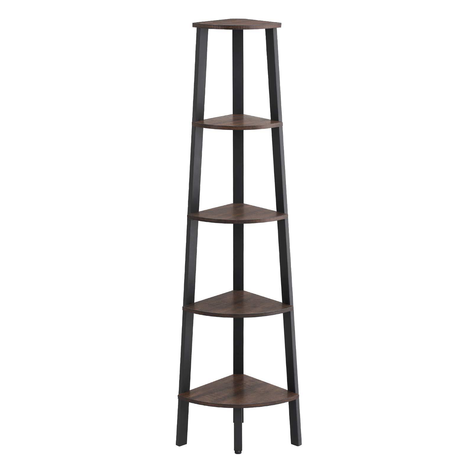VASAGLE Industrial Corner Shelf, 5-Tier Ladder Bookcase, Storage Rack, with Metal Frame, for Living Room, Home, Office, Rustic Dark Brown ULLS35BF