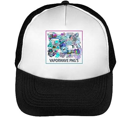 Vaporwave PNG JPEG Mens Baseball Trucker Cap Hat Snapback Black ...