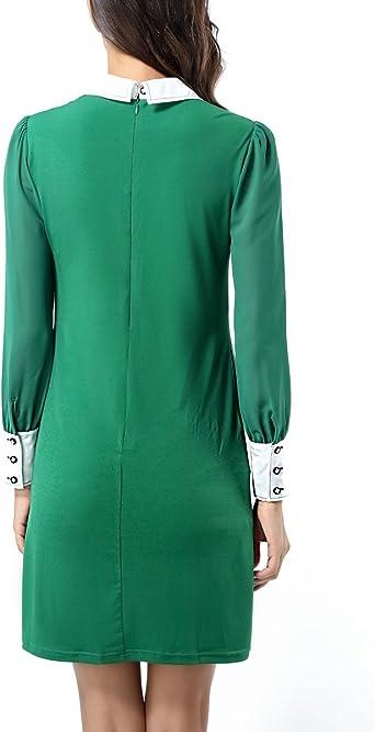 Damska sukienka z długim rękawem z odsłoniętym kołnierzem Peter Pan z kieszeniami: Odzież