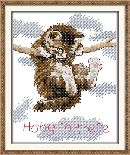 Joy Sunday The little cat Hang in there Counted Chinese Cross Stitch Kits printed Cross-stitch set Embroidery Needlework (11CT stamped)