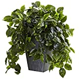 Nearly Natural Hanging Pothos with Slate Planter Indoor/Outdoor UV Resistant