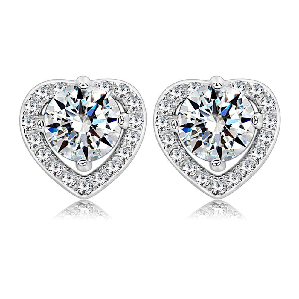 LOCHING Hollow Heart Earrings Fashion Zircon 925 silver Shiny Earrings luxurious Love Stud Earrings