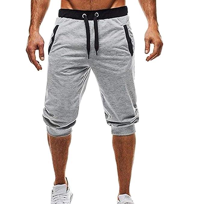 Ansenesna Pantalones Cortos Hombre Deporte Verano Vaqueros Trabajo PantalóN Hombres Deporte Fitness Jogging Elastic elástico Culturismo Bermudas ...