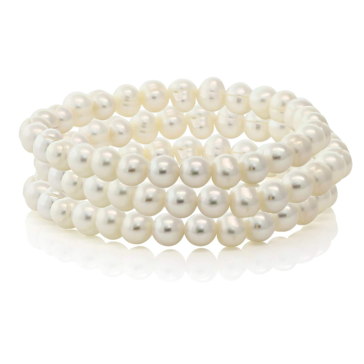 Set of 3 Stretch Bracelets White Freshwater Cultured Off-Shape Pearls Adjustable Fit by Splendid Pearls