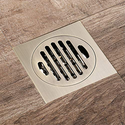 Tile Insert Square Shower Floor Drain 4-Inch Pure Cupper Grate Strainer With Removable Cover, Anti-Clogging For Kitchen Bathroom Washroom Garage Basement by YJZ (Image #2)