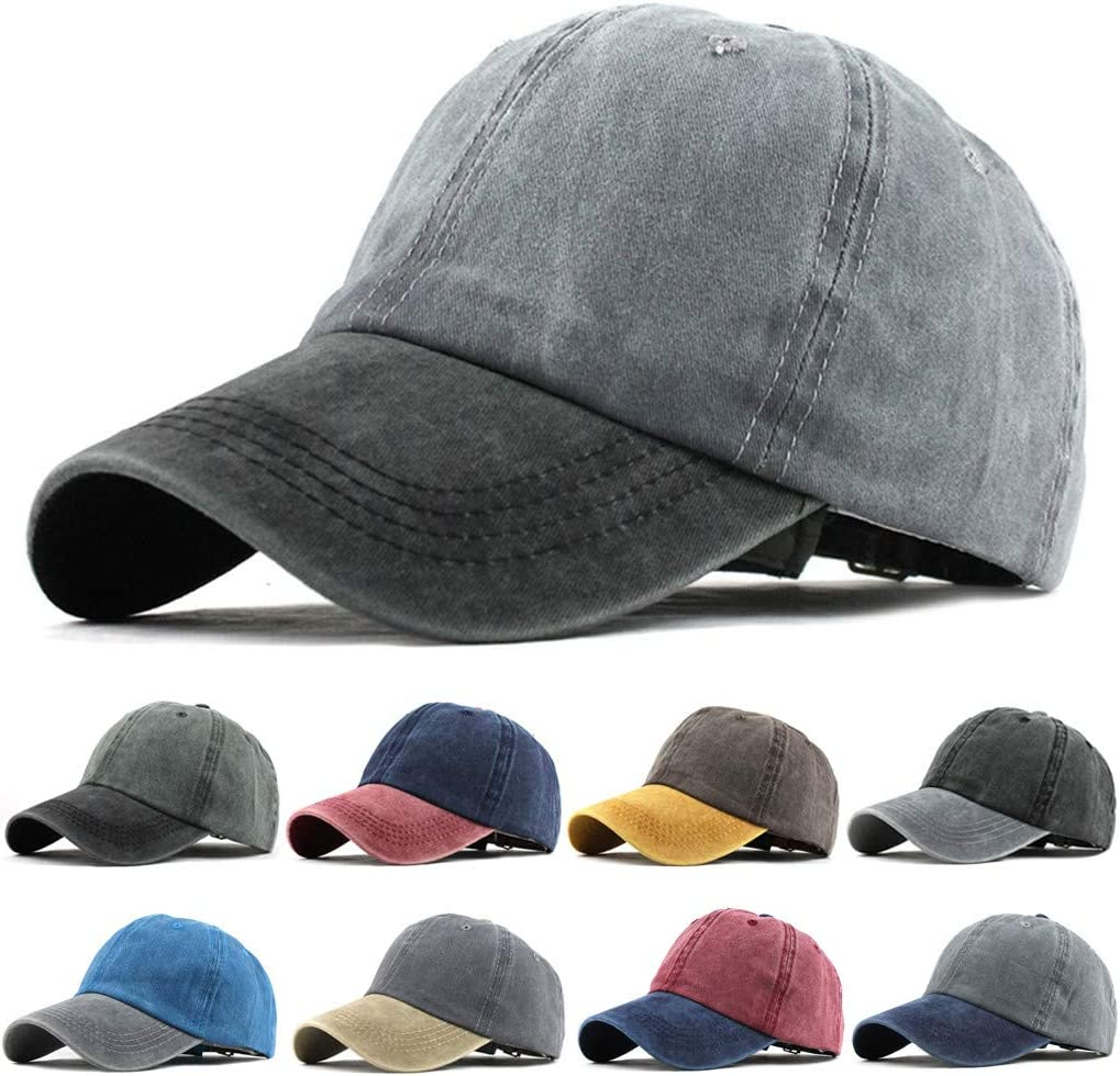 YunZyun Unisex Outdoor Cotton Solid Color Baseball Caps Adjustable Hat Baseball Cap Adjustable Baseball Cap Men Women Sports Baseball Cap