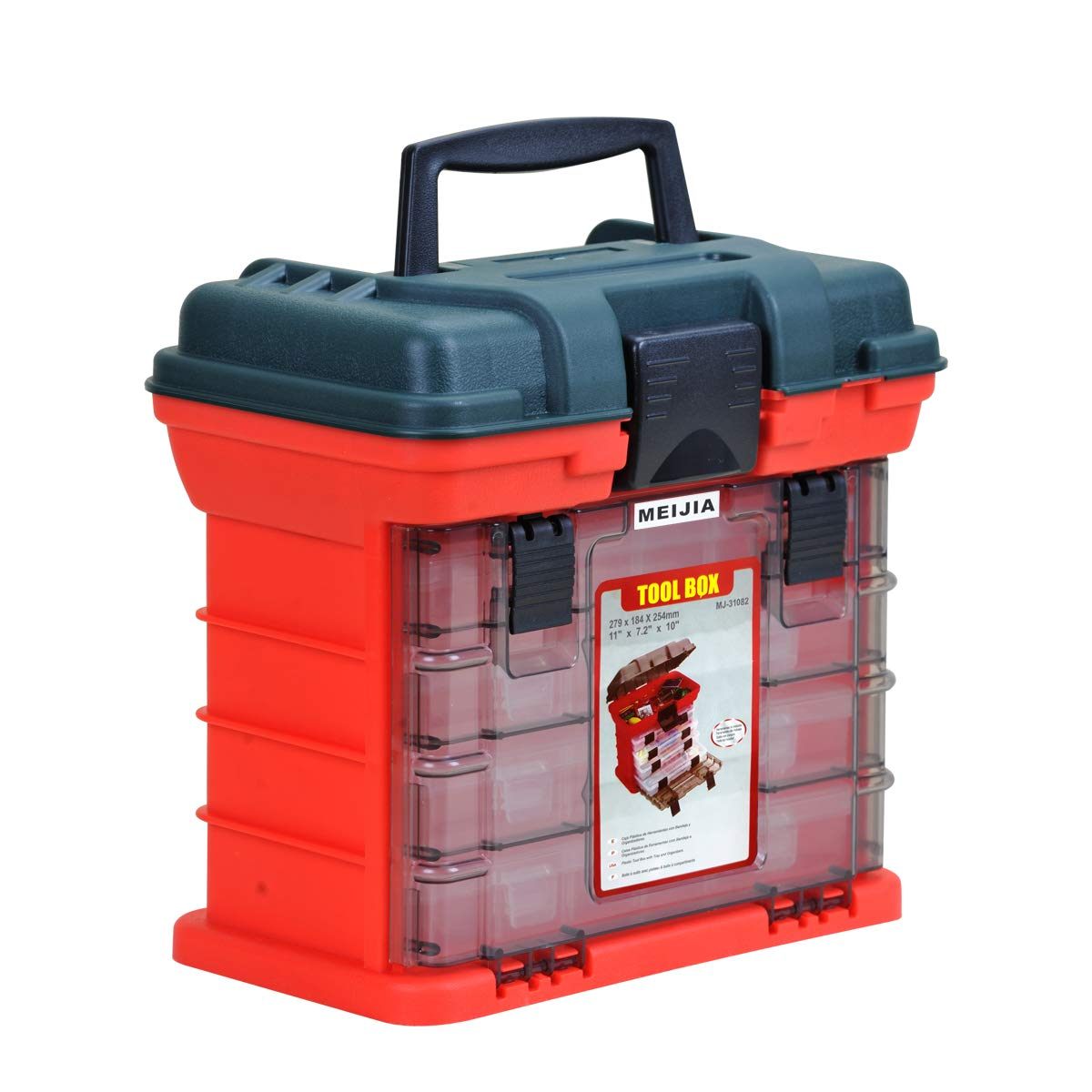 MEIJIA Portable Fishing Tackle Tool Box,Tool Organizers with 4 Removable Box and Adjustable Dividers,10.98x7.24x10.24inches(Red and Green) by MEIJIA
