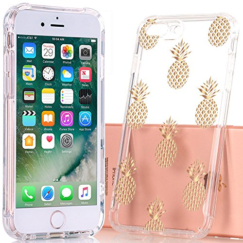 BAISRKE iPhone 7 Plus Case,iPhone 8 Plus Case with Pineapples Slim Shockproof Clear Pineapple Pattern Soft Flexible TPU Back Cover for iPhone 7 8 Plus - Gold Pineapple (For 3d Pizza Iphone 4 Cases)