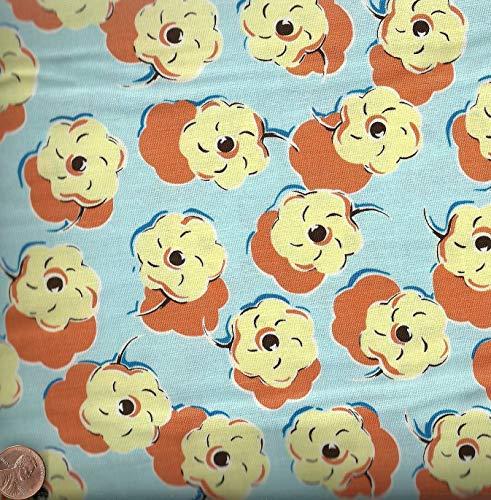 Felicity Miller Kites Flowery Blue Gold Free Spirit Fabric ()