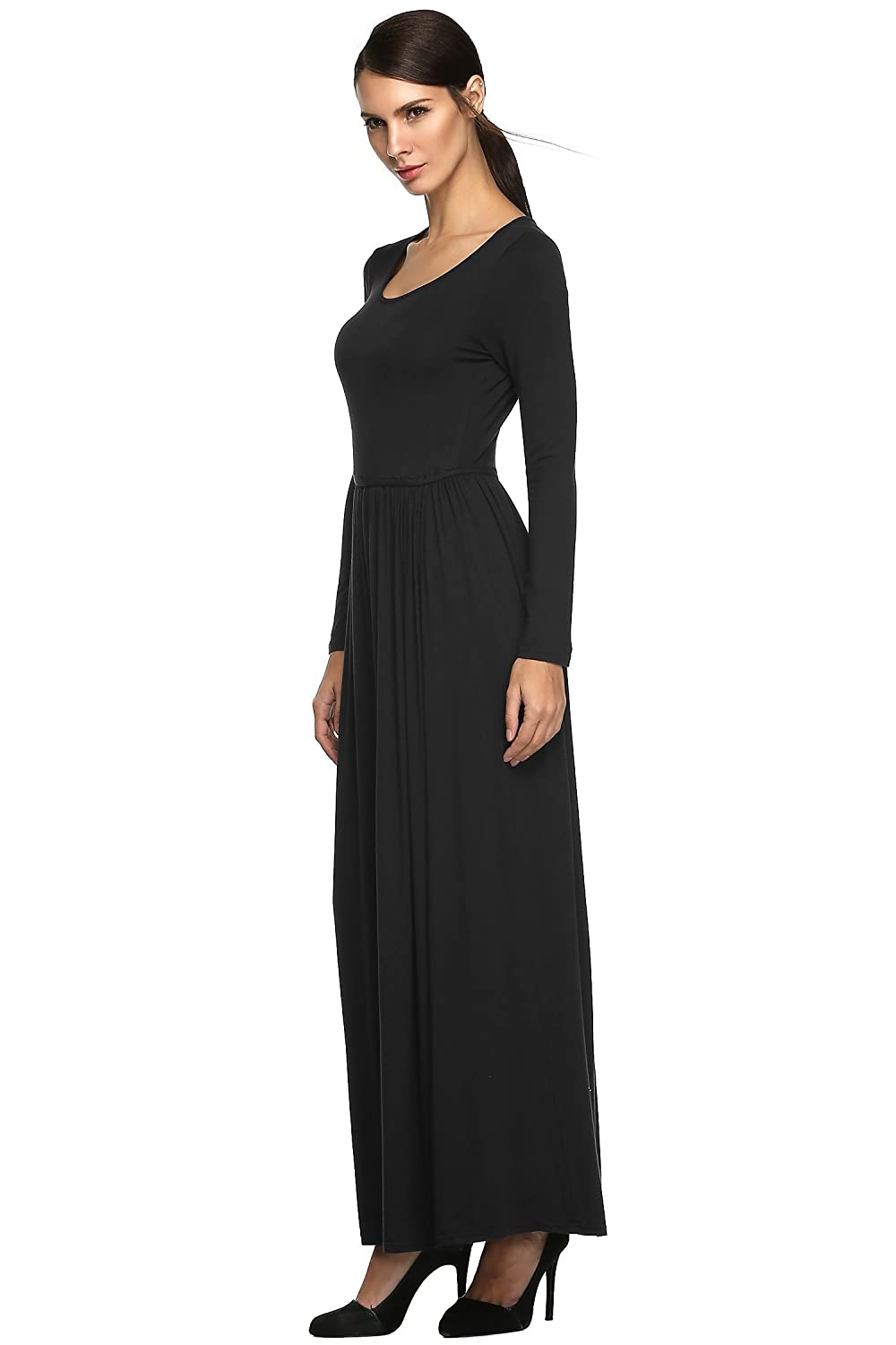 Womens Long Sleeve Dress Waist Pleated Party Causual Fashional Figure Flattering Maxi Dress (XXL, Black): Amazon.co.uk: Clothing