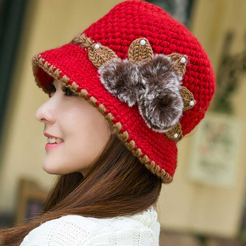 0fed6ccc96f Amazon.com  iYBUIA Special Women Lady Winter Warm Crochet Knitted Flowers  Decorated Ears Hat(Hot Pink