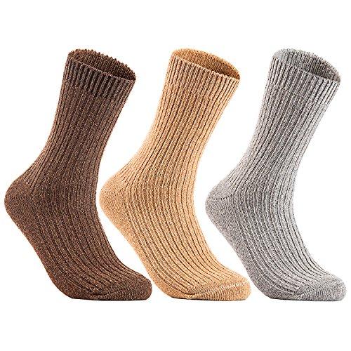 (Lian LifeStyle Men's 3 Pairs Knitted Wool Crew Socks FS03 Size 6-10 3P3C-04(Coffee, Beige, Grey))