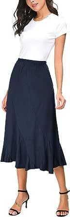 EXCHIC Mujers Elegante De Cintura Elástica Tela de Gamuza Midi Faldas