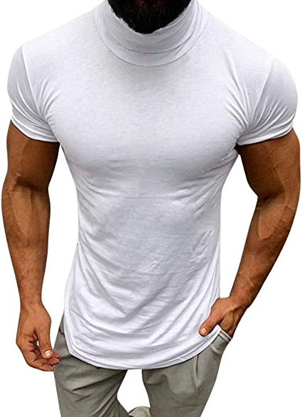 Men/'s Casual Tops Sleeve Slim Size Fit Long Neck Plus Shirt Turtle Solid