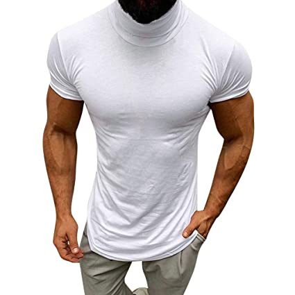 d38bef57754a Amazon.com: YKARITIANNA Men's 2019 New T Shirt, Autumn and Winter Solid  Color Turtleneck Long Sleeve Top Elastic Slim Pullover Bronze: Arts, Crafts  & Sewing