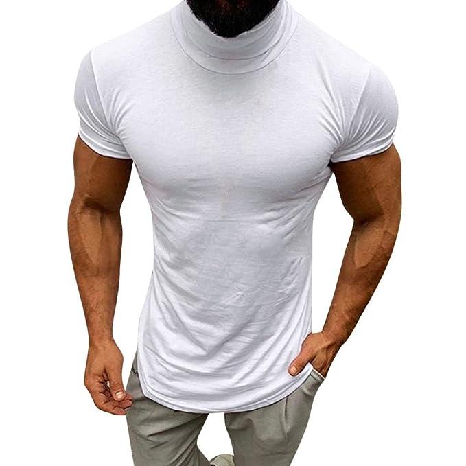 Camisas de Hombre Rovinci Deportes Ocasionales Músculo Primavera Verano Color sólido Manga Corta Cuello Alto Tops Blusas: Amazon.es: Ropa y accesorios