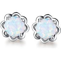 Opal Lotus earrings-18K White Gold Plated 6mm Round White Opal Stud Earrings For Women Girls