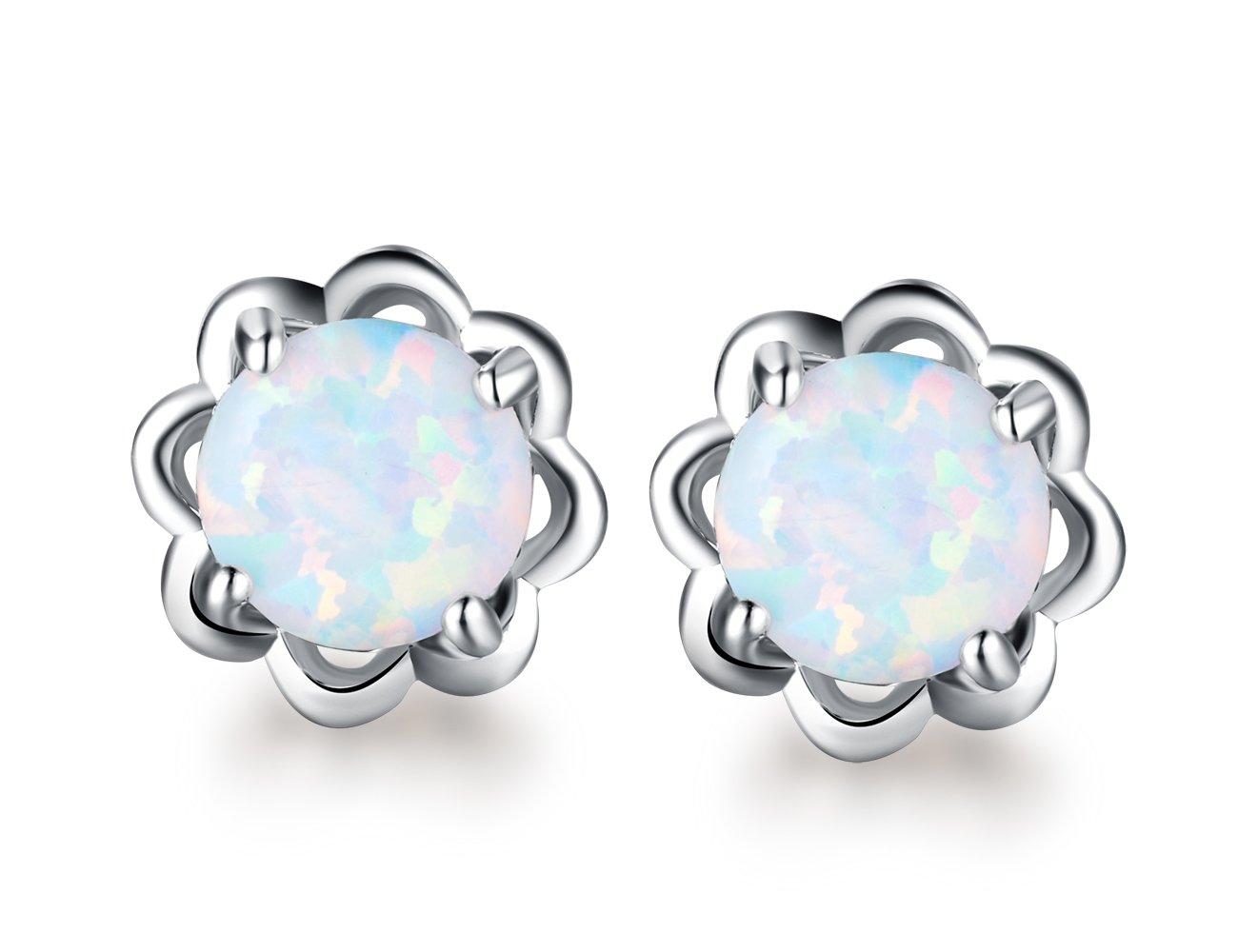 Opal Lotus earrings-18K White Gold Plated 6mm Round White Opal Stud Earrings For Women Girls …