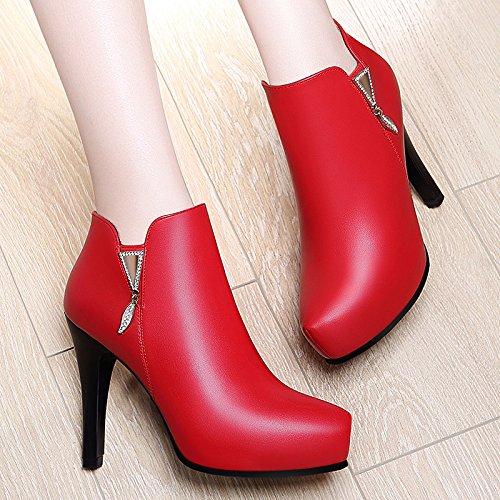 KHSKX-Hochhackige Schuhe Frauen Herbst Mode Einzelne Schuhe Lady Ist Leder Schuhe gules