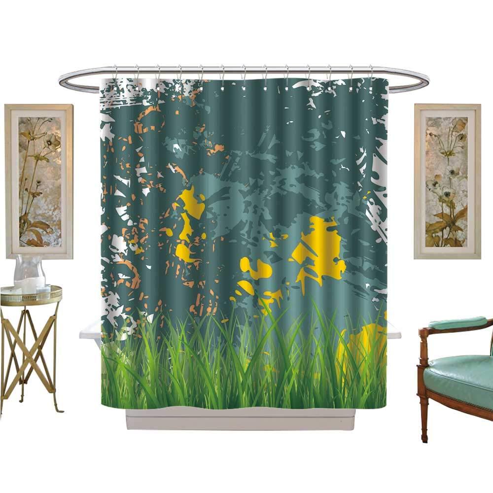 luvoluxhome シャワーカーテン デジタルプリント アンティークオールドプランク アメリカンスタイル 西洋風 素朴な木 厚い草の成長 サテン生地 浴室 洗濯可 幅36 x 長さ72 W72