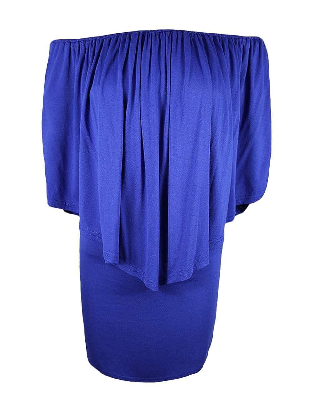 Dark bluee Haola Womens Off The Shoulder Casual Ruffles Summer Bodycon Club Mini Dresses