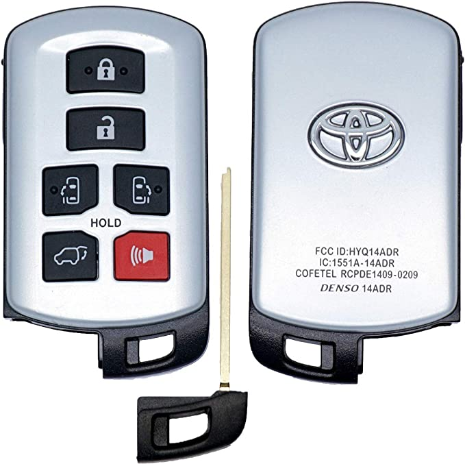 Blue TM 6 Buttons TPU Soft Smart keyless Remote Key Fob case Cover for 2011-2020 Toyota Sienna HYQ14ADR Royalfox