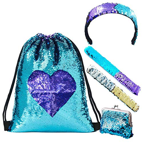 Dance Gift Set (LURICO Mermaid Sequin Drawstring Bags, Mermaid Sequin Bag, Purses, with Bonus Slap Bracelet & Headband Set, Magic Glittering Dance Bag, Reversible Blue/Purple - 5pcs)