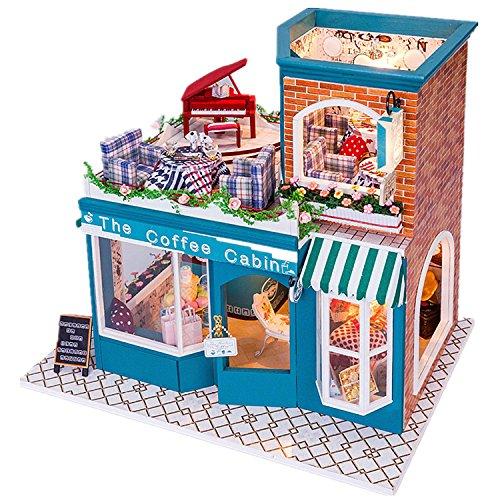 DIY Led `コーヒーのキャビン「ドールハウスミニチュアハウスキットwithダストカバーDIY部屋ギフトおもちゃの商品画像