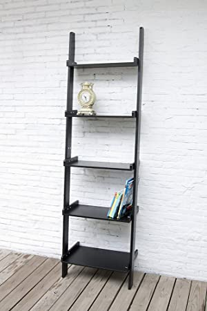 Black Leaning Ladder Shelf with Five Tiers